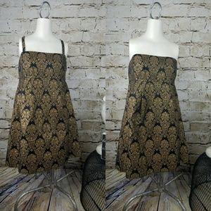 Michael Kors Mini Dress Black Gold Brocade Party